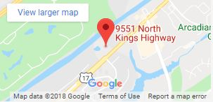 map with pin on 9551 N Kings Highway
